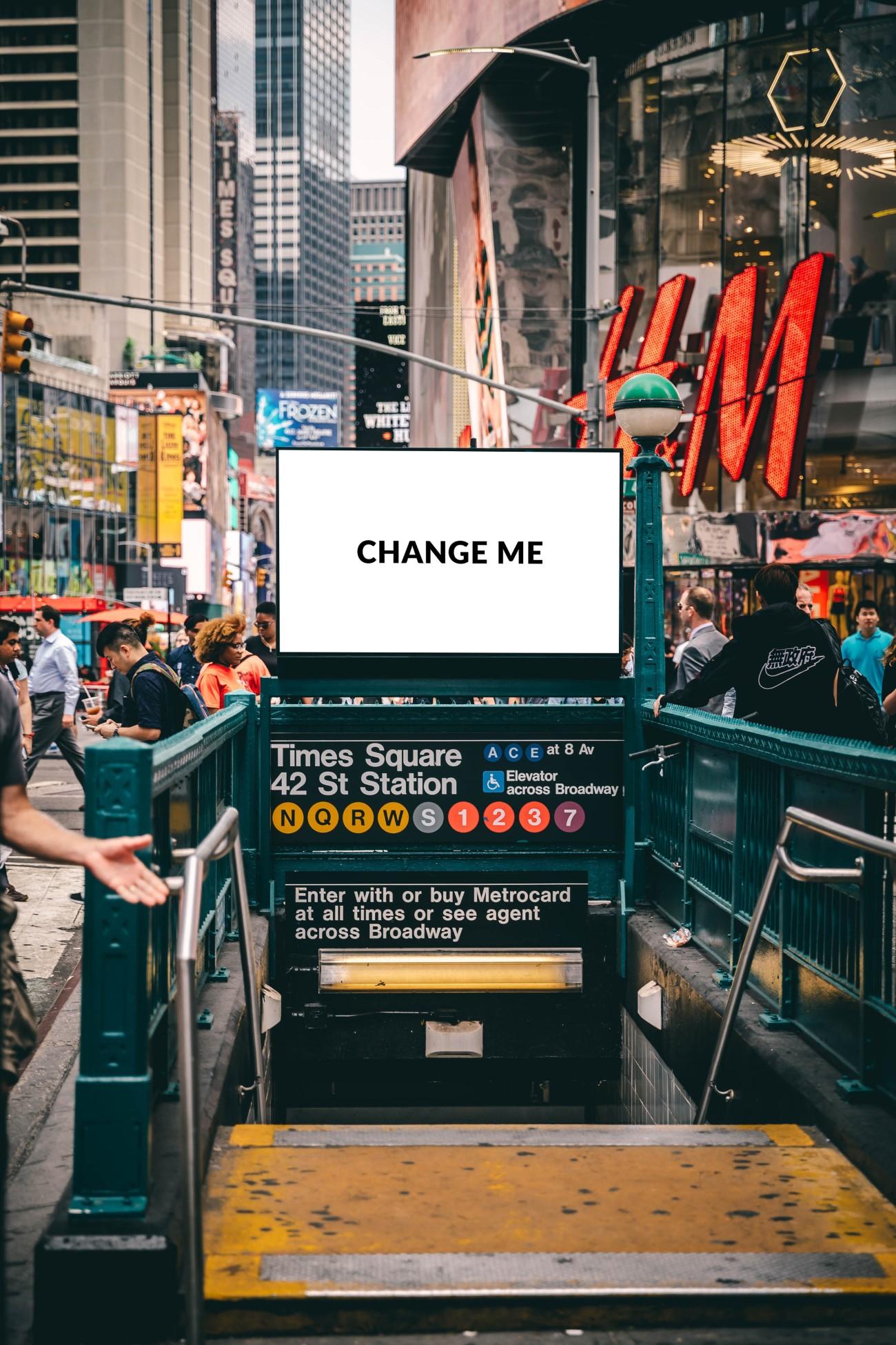 Times Square Station Billboard Mockup